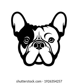 French bulldog face isolated vector illustration