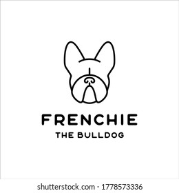 The french bulldog face with a minimalist line design