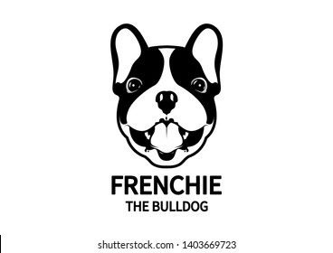 French Bulldog face with mouth open style portrait in black & white. The dog label for your any artwork, cute and adorable design.