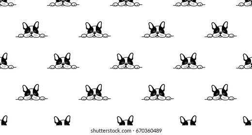 french bulldog face sleepy dog seamless pattern wallpaper background