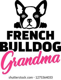 French Bulldog Grandma silhouette black