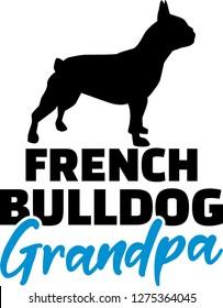 French Bulldog Grandpa silhouette black