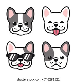 French Bulldog hand drawn cartoon face set. Cute Frenchie puppy drawing, vector illustration.