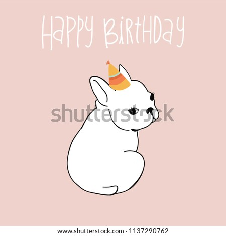 French Bulldog Happy Birthday Card Super Cute Dog For You To Create Your Own Greeting