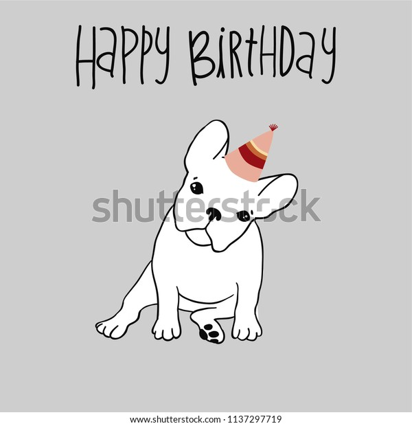 French Bulldog Happy Birthday Card Super Stock Vector Royalty Free