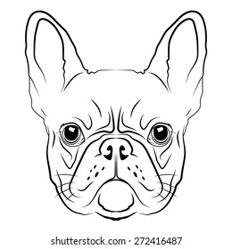 French Bulldog head logo or icon in white for a mascot and T-shirt graphic.