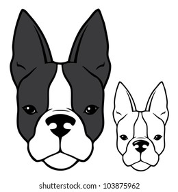 French bulldog head - vector illustration