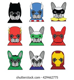 French bulldog  heroes in in color icons set
