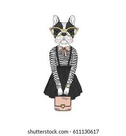 french bulldog hipster girl, furry art illustration, humanized animals
