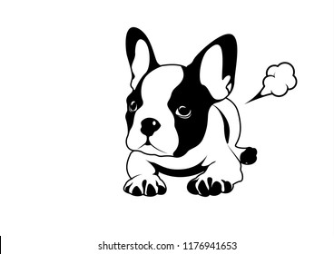 French bulldog and his little fart. Cute Frenchie The Bulldog logo symbol for your variety design artworks. For T-shirt screen, printing card, branding, etc.