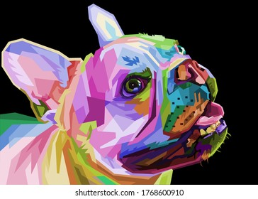 french bulldog on geometric pop art style. vector illustration.