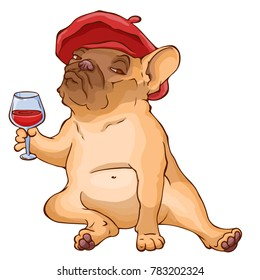 French bulldog in red beret sitting with a glass of red wine. Cartoon vector character.