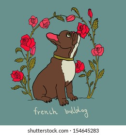 French bulldog with roses