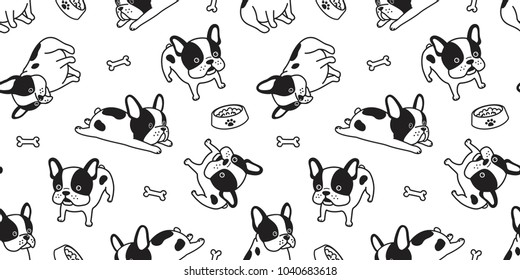 french bulldog seamless pattern Dog bone isolated paw vector bow breed wallpaper background white