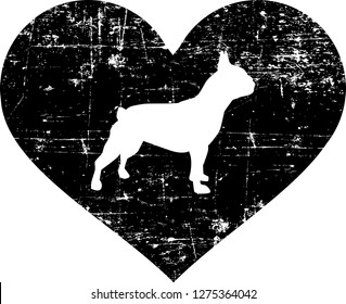 French Bulldog silhouette in black heart
