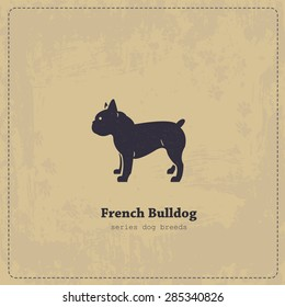 French Bulldog silhouette vintage poster. All objects are conveniently grouped and are easily editable.