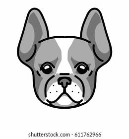 French bulldog. Sticker, logo.