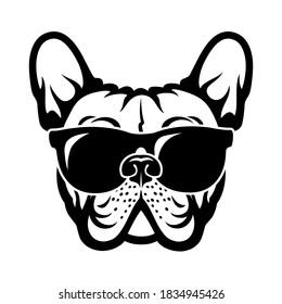 French bulldog with sunglasses Frenchie logo vector illustration