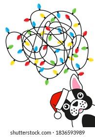 French bulldog tangled christmas lights on white background. Greeting card design.