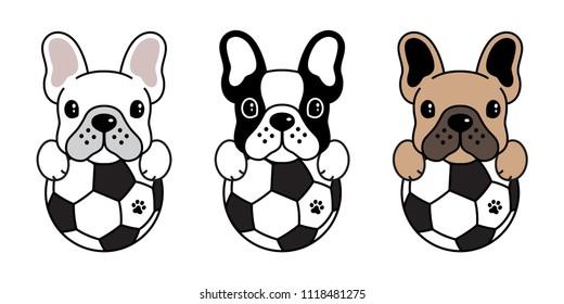 french bulldog vector dog football soccer icon logo illustration symbol cartoon