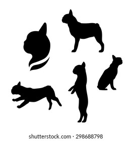 French bulldog vector icons and silhouettes. Set of illustrations in different poses.