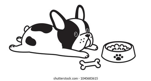 french bulldog vector illustration dog bone bow cartoon white