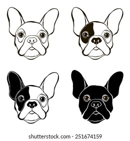 French Bulldog. Vector set of  bulldog's face. Hand-drawn vector illustration. Sketch, four variants.
