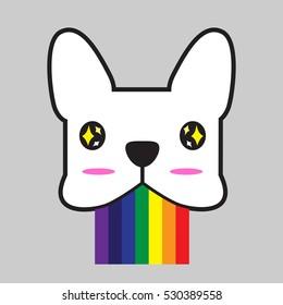 french bulldog vector vomit rainbows at the sight of something amazing