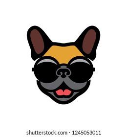 French bulldog wearing round shaped sunglasses - Frenchie logo - vector illustration