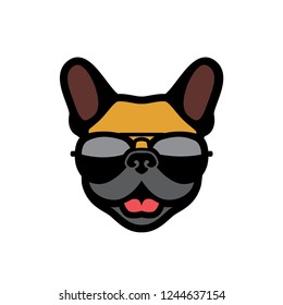 French bulldog wearing sunglasses - Frenchie logo - vector illustration