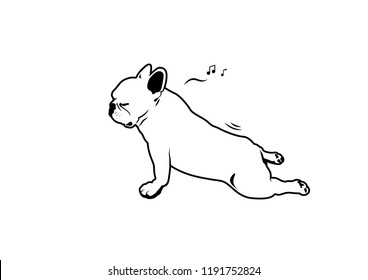 French Bulldog Yoga Fart Style. Relax time yoga exercise with little cute frenchie, he is humming his favorite song while stretching his back and then makes a fart suddenly.