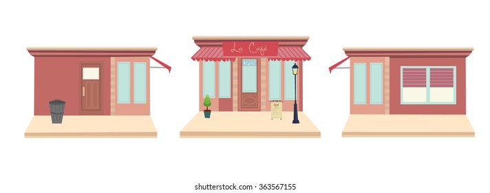 French cafe front and side-views