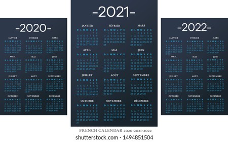 French calendar 2010-2021-2022 vector template text is outline font Avant-Garde and Athelas