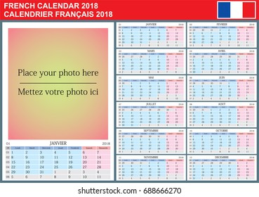 French calendar 2018. Vector Template with Place for Photo. Week Starts Monday.