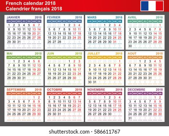 French calendar 2018. Week Starts Monday. Seasons of different colors. Vector Template.