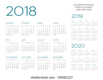 French Calendar 2018-2019-2020 vector text is outline font is armata