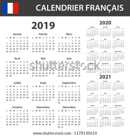 French Calendar 2019 2020 2021 Scheduler Stock Vector Royalty Free