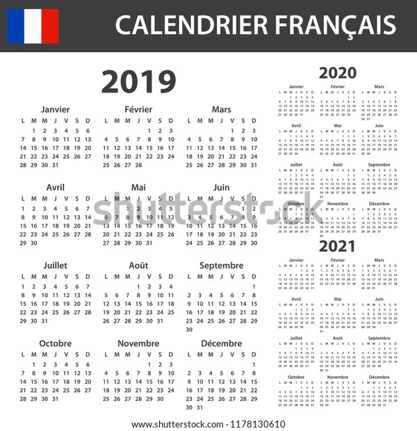 Calendrier Free 2019.French Calendar 2019 2020 2021 Scheduler Stock Vector