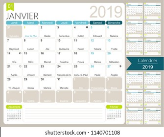 French calendar 2019 / Calendar 2019, set of 12 months January - December, French printable monthly calendar template, including name days, lunar phases and official holidays, vector illustration