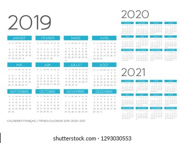 French Calendar 2019-2020-2021 template vector text is outline font is armata