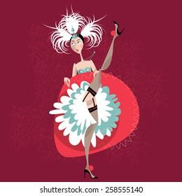 French cancan dancer. Vector illustration