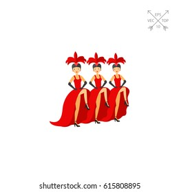 French cancan dancers icon