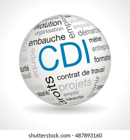 French CDI  sphere with keywords : cdi, employment contract, evolution, organization, hiring, employment, hierarchy, rights, safety, job, balance, project, future, business, company, employer,training