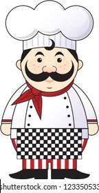 French Chef | Cute fat or chubby cartoon chef vector in a chef hat with red bandana around his neck, mustache, black and white checkered apron, chef's coat and red and white striped pants.