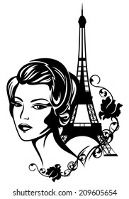 French chic vector fashion portrait - beautiful woman with retro style hair and eiffel tower among flowers