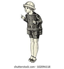 French Child of 1920  - vintage engraved illustration - Catalog of a French department store - Paris 1919 -
