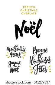 French Christmas Expressions, meaning Merry Christmas, Happy Holidays, Best Wishes. Custom typography and hand lettering.