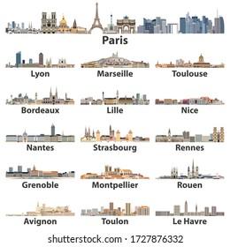 Französische Städte skyline isolierte Vektorsymbole