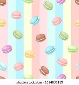 French confection macaron cake, macaron candy colorful stripes seamless background. Hand drawn vector pattern. Delicious colorful dessert pastry. wallpaper