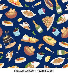 French cuisine vector illustration. Croissant, cheese fondue, champagne glass, frog legs seamless pattern background tasty food and cuisine, dinner, food delicious elements.